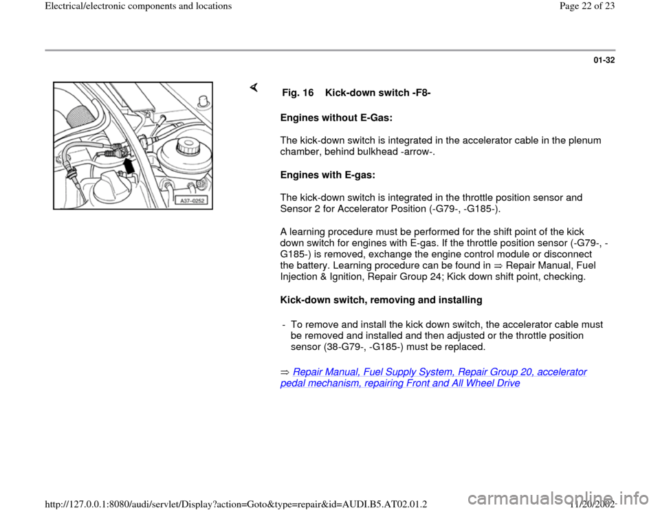 AUDI A4 1998 B5 / 1.G 01V Transmission Electrical And Electronic Components Workshop Manual, Page 22