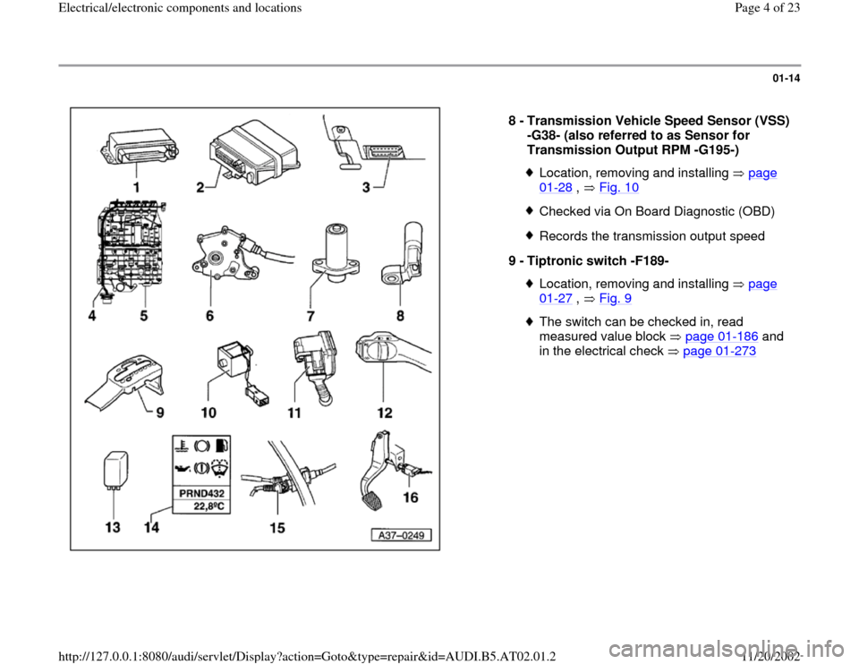 AUDI A4 1999 B5 / 1.G 01V Transmission Electrical And Electronic Components Workshop Manual, Page 4