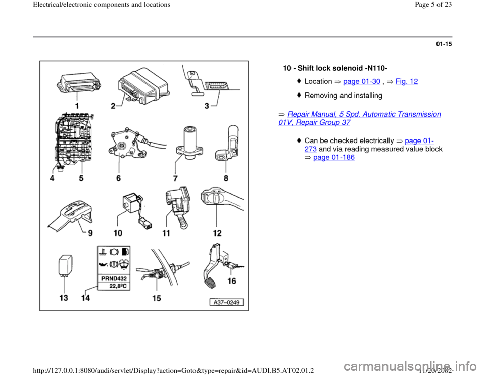 AUDI A4 1999 B5 / 1.G 01V Transmission Electrical And Electronic Components Workshop Manual, Page 5