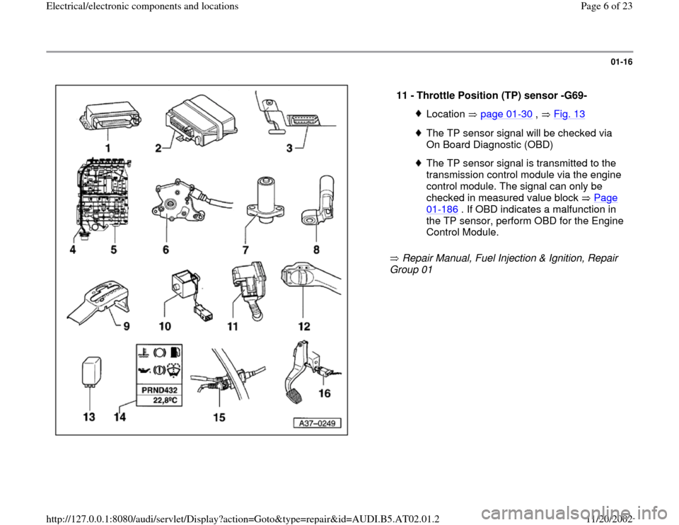 AUDI A4 1999 B5 / 1.G 01V Transmission Electrical And Electronic Components Workshop Manual, Page 6