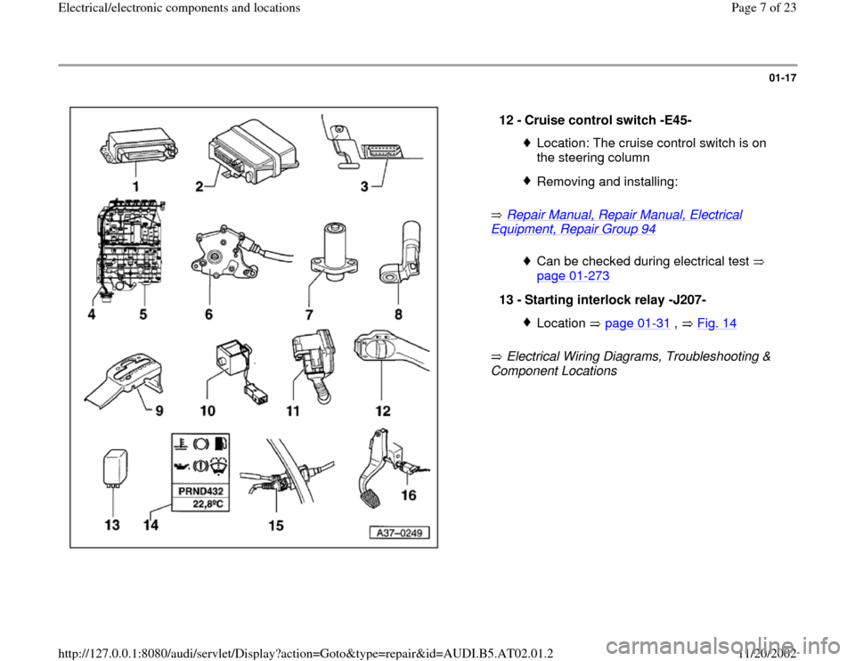 AUDI A4 1999 B5 / 1.G 01V Transmission Electrical And Electronic Components Workshop Manual, Page 7