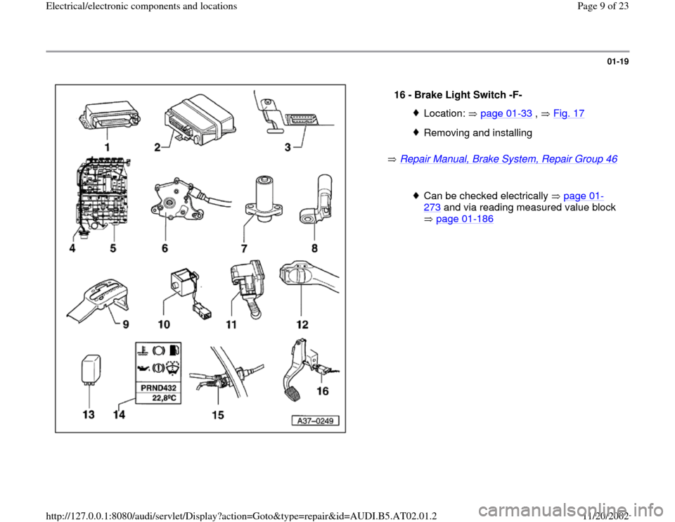 AUDI A4 1999 B5 / 1.G 01V Transmission Electrical And Electronic Components Workshop Manual, Page 9