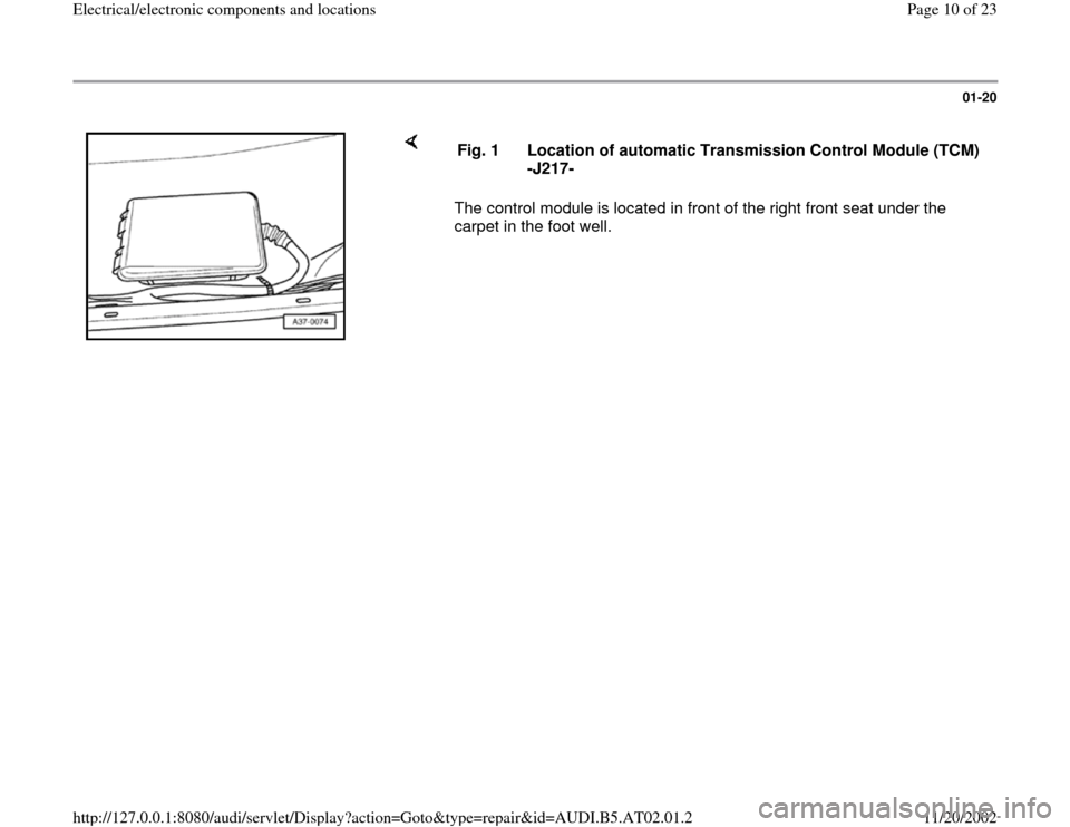 AUDI A4 1999 B5 / 1.G 01V Transmission Electrical And Electronic Components Workshop Manual, Page 10