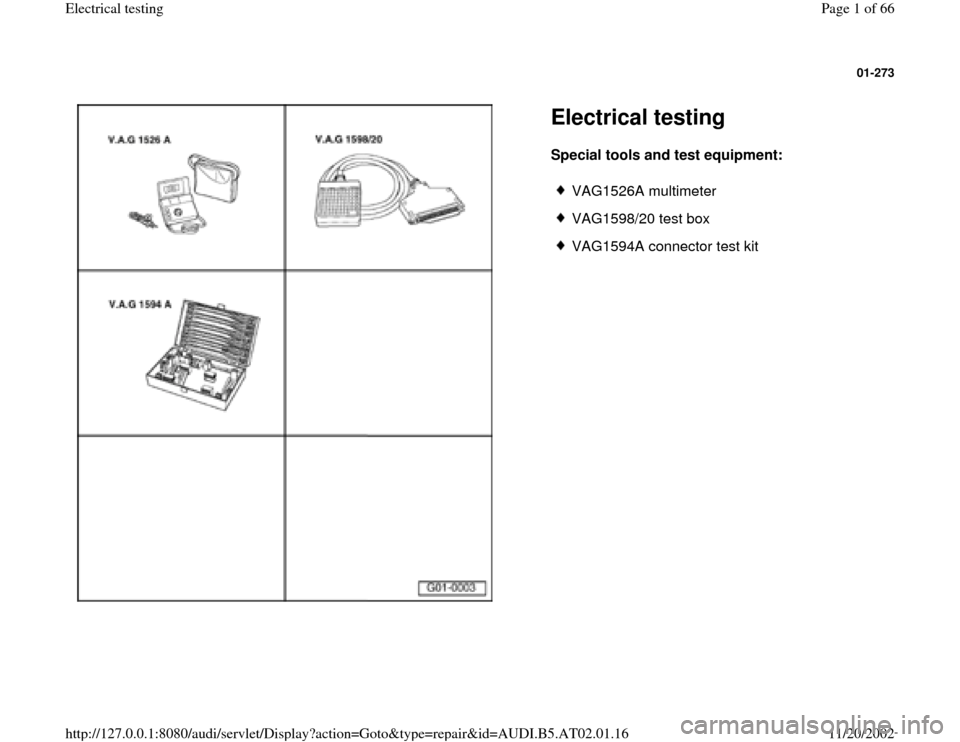 AUDI A6 1996 C5 / 2.G 01V Transmission Electrical Testing Workshop Manual, Page 1