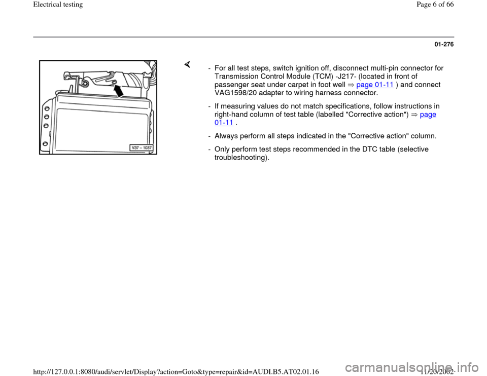 AUDI A6 1996 C5 / 2.G 01V Transmission Electrical Testing Workshop Manual, Page 6