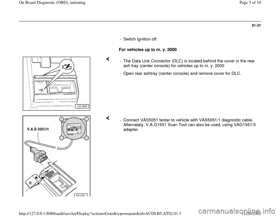 AUDI A4 1999 B5 / 1.G 01V Transmission OBD Workshop Manual, Page 5