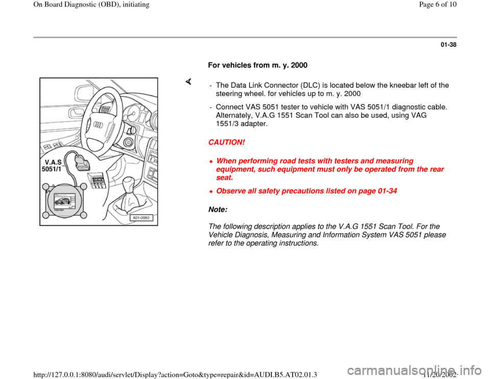 AUDI A4 1999 B5 / 1.G 01V Transmission OBD Workshop Manual, Page 6