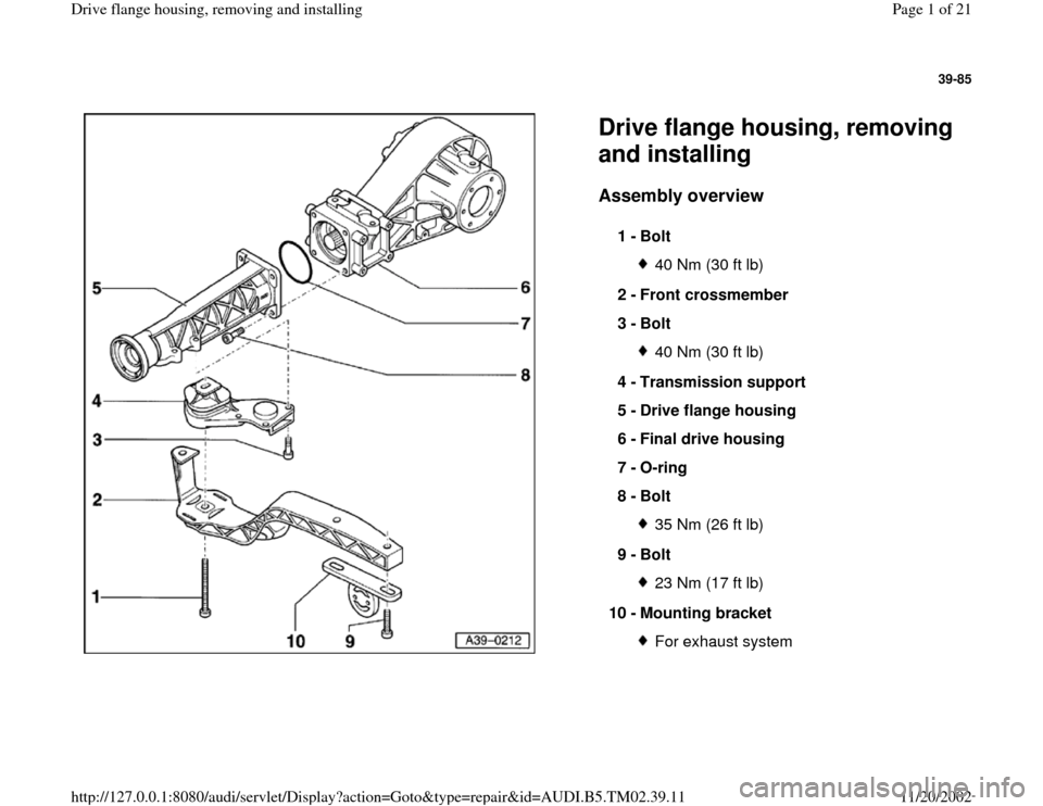 Audi A4 1999 B5 1g 01a Transmission Final Drive Flange Housing. Audi A4 1999 B5 1g 01a Transmission Final Drive Flange Housing Remove Workshop Manual. Audi. 1999 Audi A4 Exhaust System Diagram At Scoala.co