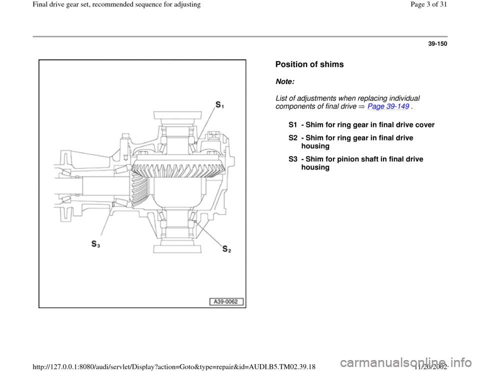 AUDI A4 1999 B5 / 1.G 01A Transmission Final Drive Gear Set Workshop Manual 39-150      Position of shims   Note:   List of adjustments when replacing individual  components of final drive   Page 39 -149  .  S1 - Shim for ring gear in final drive cover S2 - Shim for ring gear