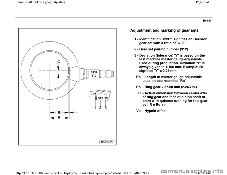 AUDI A4 1998 B5 / 1.G 01A Transmission Pinion Shaft And Ring Gear Adjustment Workshop Manual, Page 3