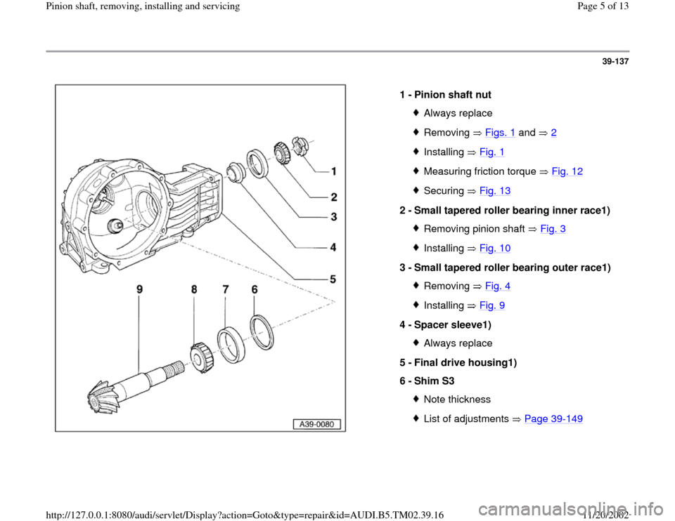 AUDI A4 1997 B5 / 1.G 01A Transmission Pinion Shaft Remove And Install Workshop Manual 39-137      1 -  Pinion shaft nut  Always replaceRemoving  Figs. 1  and   2 Installing  Fig. 1Measuring friction torque   Fig. 12Securing  Fig. 13 2 -  Small tapered roller bearing inner race1)  Remov