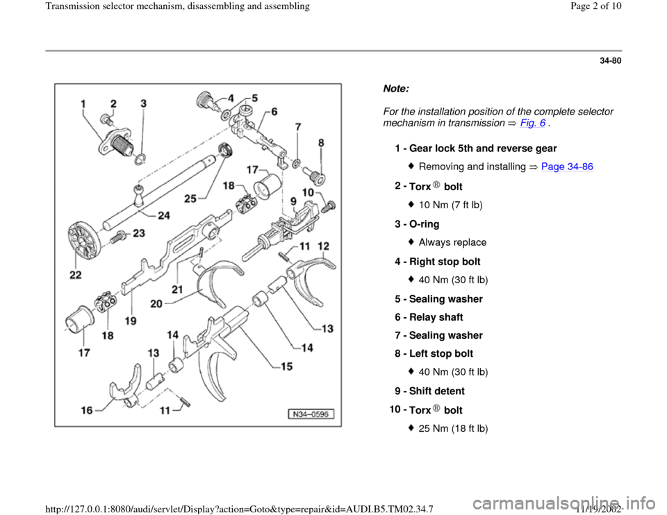 AUDI A4 1998 B5 / 1.G 01A Transmission Selector Mechanism Assembly Workshop Manual 34-80      Note:   For the installation position of the complete selector  mechanism in transmission   Fig. 6  .  1 -  Gear lock 5th and reverse gear  Removing and installing   Page 34 -86 2 -  Torx