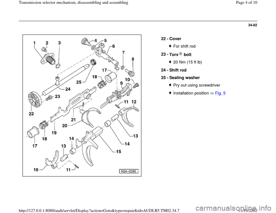 AUDI A4 1998 B5 / 1.G 01A Transmission Selector Mechanism Assembly Workshop Manual 34-82      22 -  Cover  For shift rod 23 -  Torx  bolt 20 Nm (15 ft lb) 24 -  Shift rod  25 -  Sealing washer Pry out using screwdriverInstallation position   Fig. 5 Pa ge 4 of 10 Transmission selecto