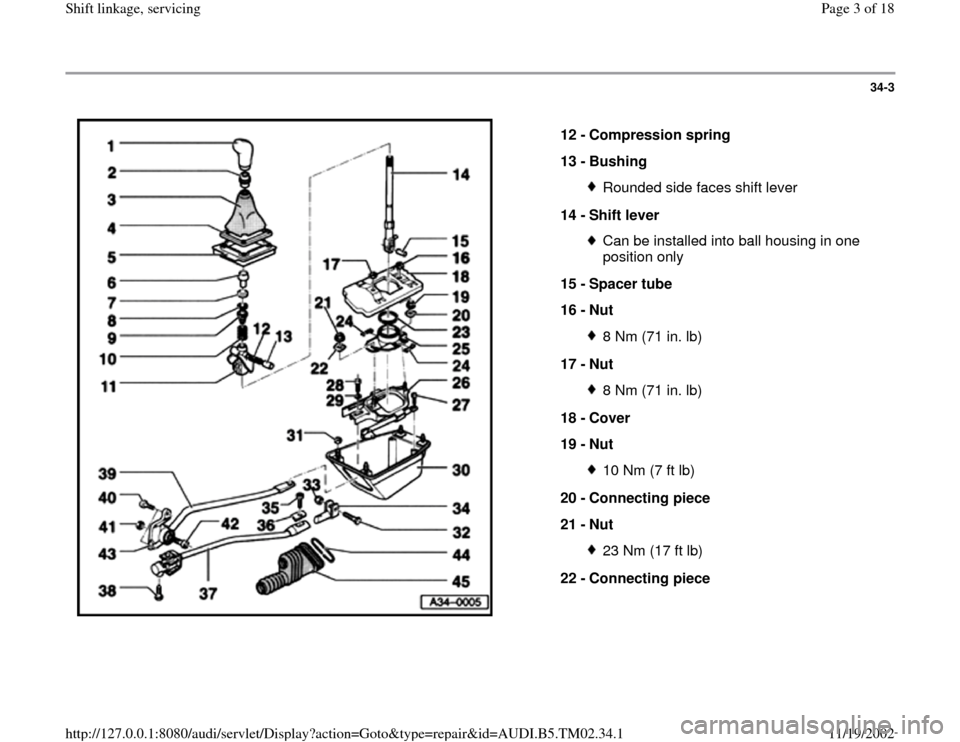 AUDI A4 1999 B5 / 1.G 01A Transmission Shift Linkage Service Workshop Manual 34-3      12 -  Compression spring  13 -  Bushing  Rounded side faces shift lever 14 -  Shift lever Can be installed into ball housing in one  position only  15 -  Spacer tube  16 -  Nut 8 Nm (71 in.