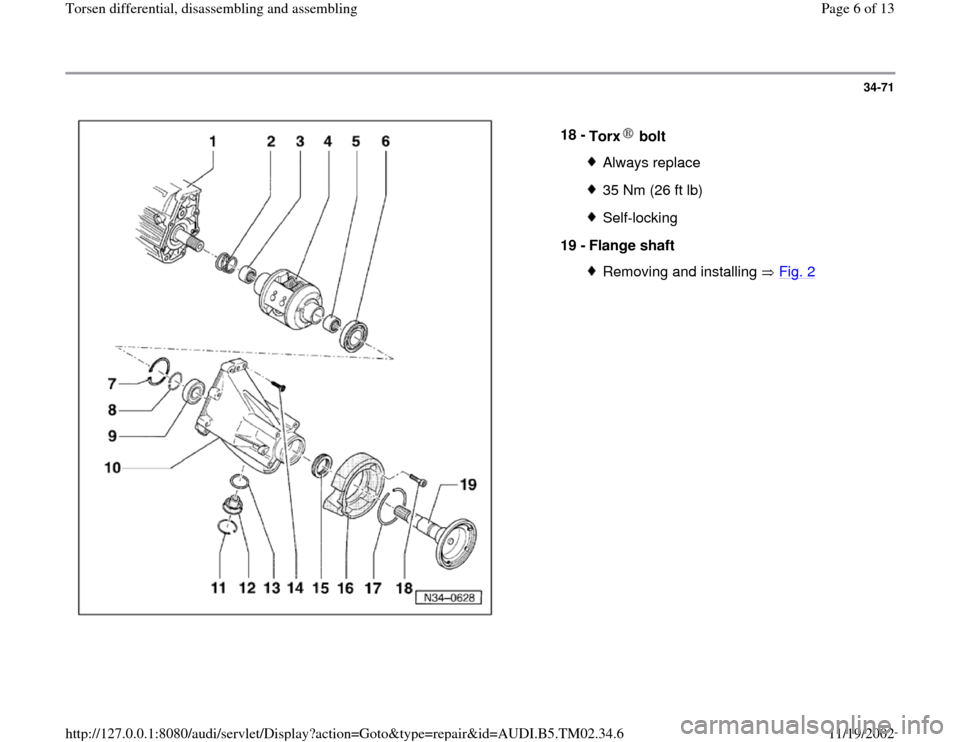 AUDI A4 1996 B5 / 1.G 01A Transmission Torsen Differential Assembly Workshop Manual, Page 6