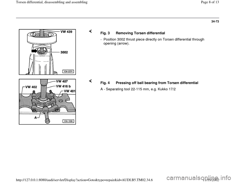 AUDI A4 1996 B5 / 1.G 01A Transmission Torsen Differential Assembly Workshop Manual, Page 8