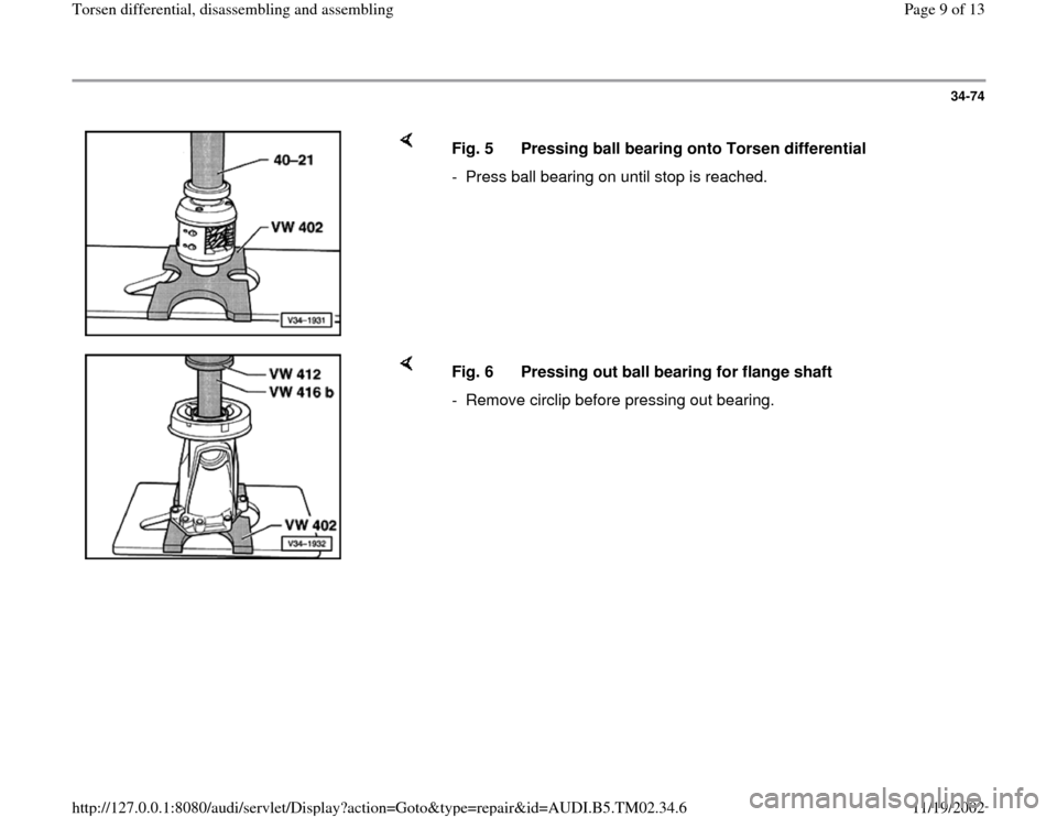 AUDI A4 1996 B5 / 1.G 01A Transmission Torsen Differential Assembly Workshop Manual, Page 9