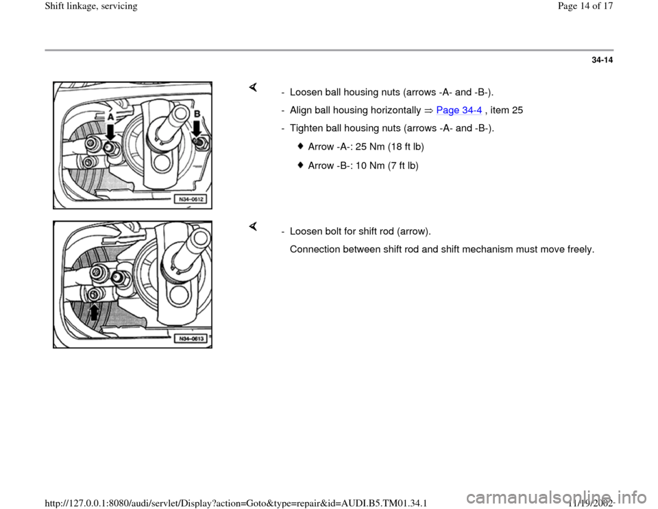 AUDI A4 1996 B5 / 1.G 01W Transmission Shift Linkage And Servicing Workshop Manual, Page 14