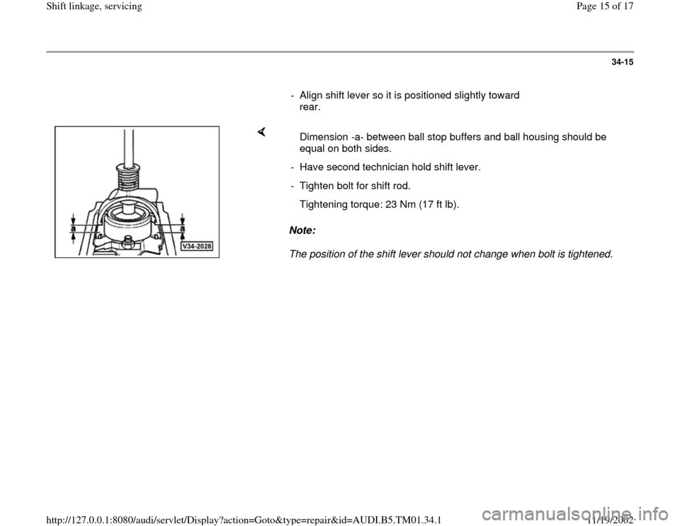 AUDI A4 1996 B5 / 1.G 01W Transmission Shift Linkage And Servicing Workshop Manual, Page 15