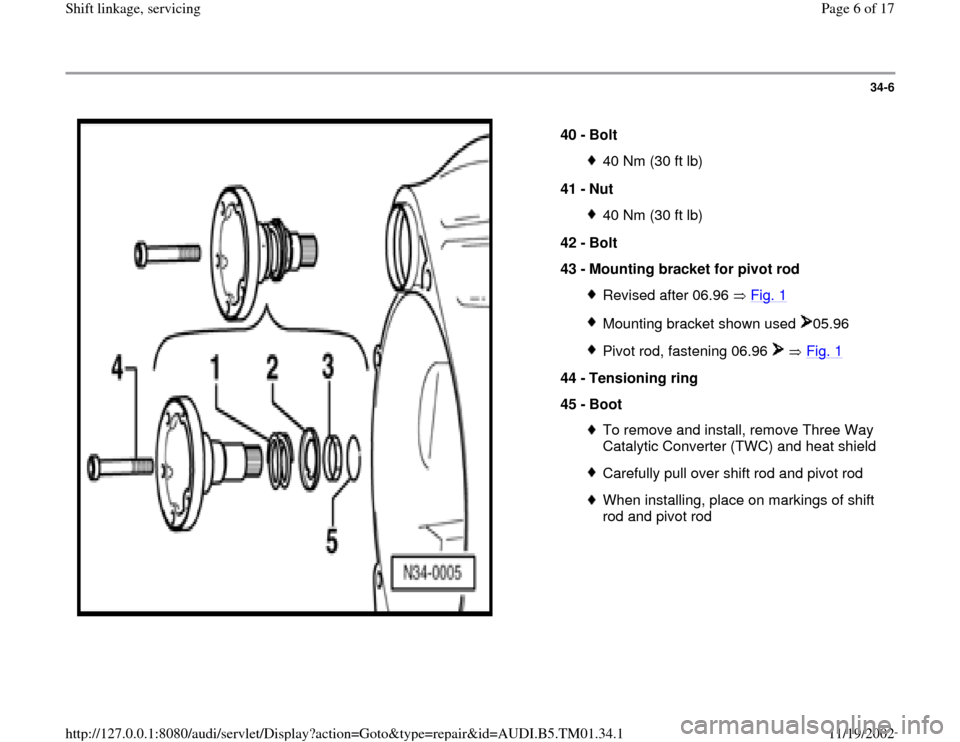 AUDI A4 1996 B5 / 1.G 01W Transmission Shift Linkage And Servicing Workshop Manual, Page 6