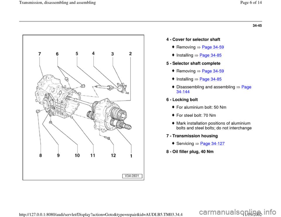 Audi S4 2000 B5    1 G 01e Transmission Assembly Workshop Manual