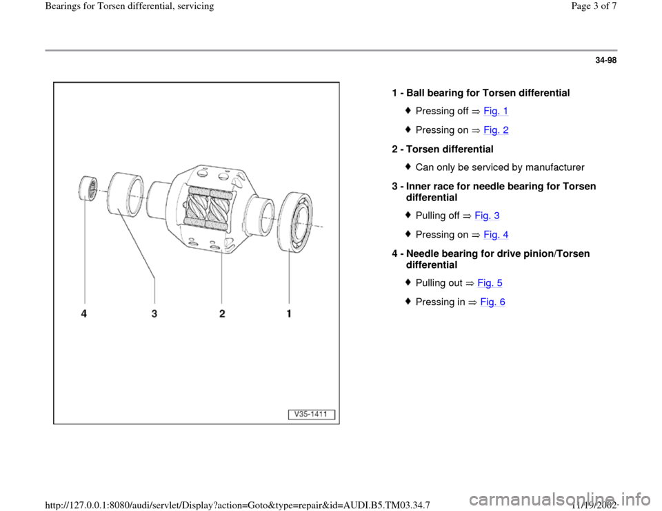 AUDI S4 2000 B5 / 1.G 01E Transmission Bearing For Torsen Differential Service Workshop Manual, Page 3