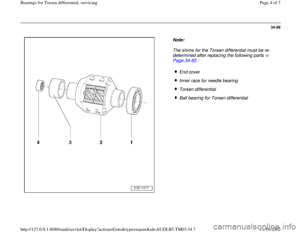 AUDI S4 2000 B5 / 1.G 01E Transmission Bearing For Torsen Differential Service Workshop Manual, Page 4