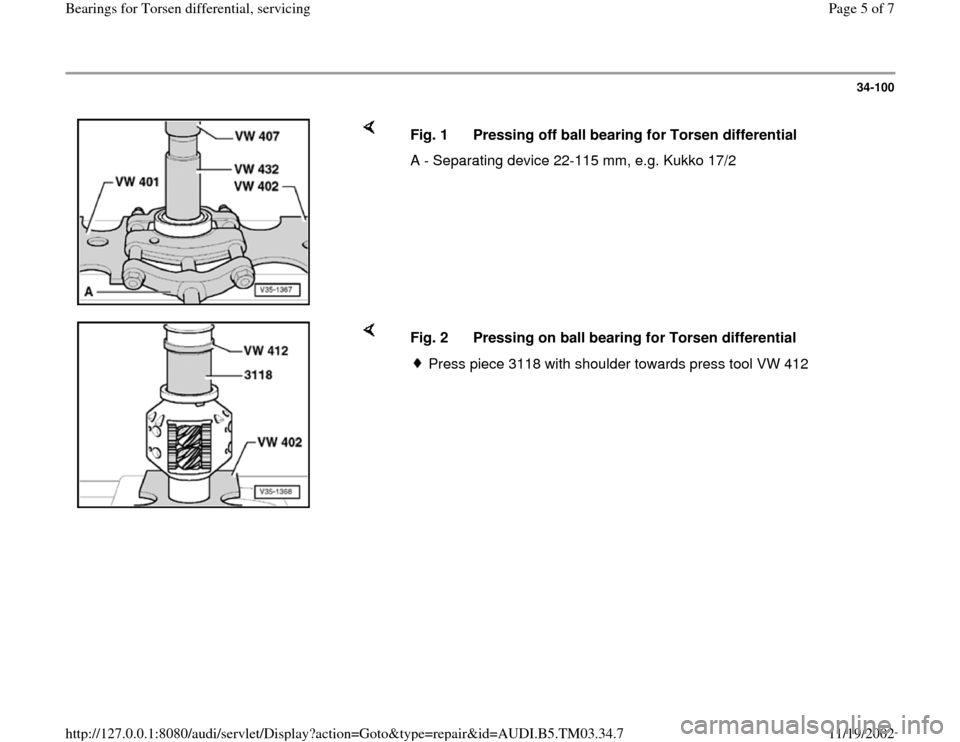 AUDI S4 2000 B5 / 1.G 01E Transmission Bearing For Torsen Differential Service Workshop Manual, Page 5