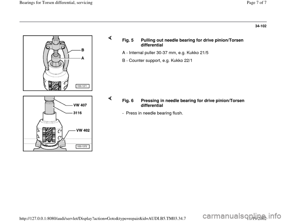 AUDI S4 2000 B5 / 1.G 01E Transmission Bearing For Torsen Differential Service Workshop Manual, Page 7