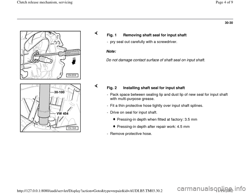 AUDI A6 1998 C5 / 2.G 01E Transmission Clutch Release Mechanism Workshop Manual, Page 4