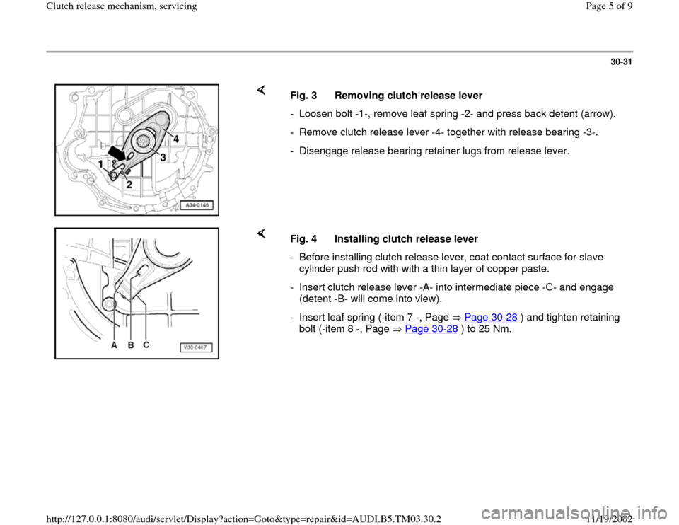 AUDI A6 1998 C5 / 2.G 01E Transmission Clutch Release Mechanism Workshop Manual, Page 5