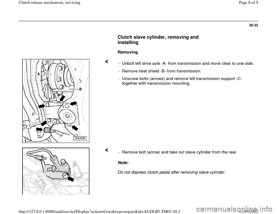 AUDI A6 1998 C5 / 2.G 01E Transmission Clutch Release Mechanism Workshop Manual, Page 6