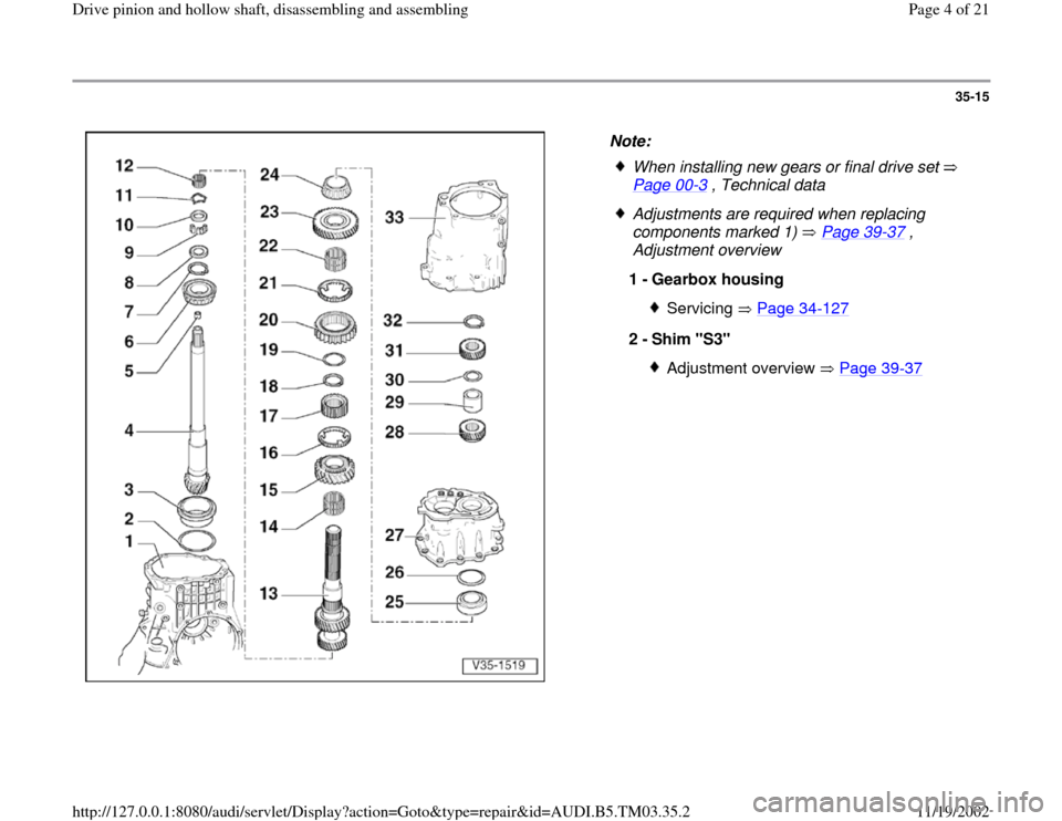 AUDI S4 2000 B5 / 1.G 01E Transmission Drive Pinion And Hollow Shaft Assembly Workshop Manual, Page 4
