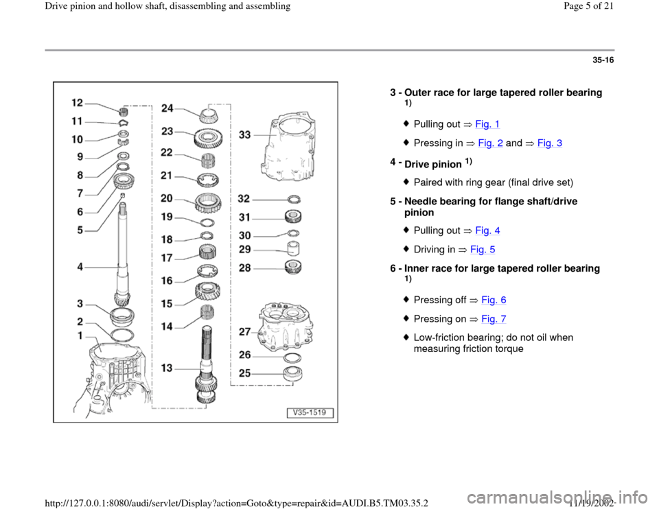 AUDI S4 2000 B5 / 1.G 01E Transmission Drive Pinion And Hollow Shaft Assembly Workshop Manual, Page 5