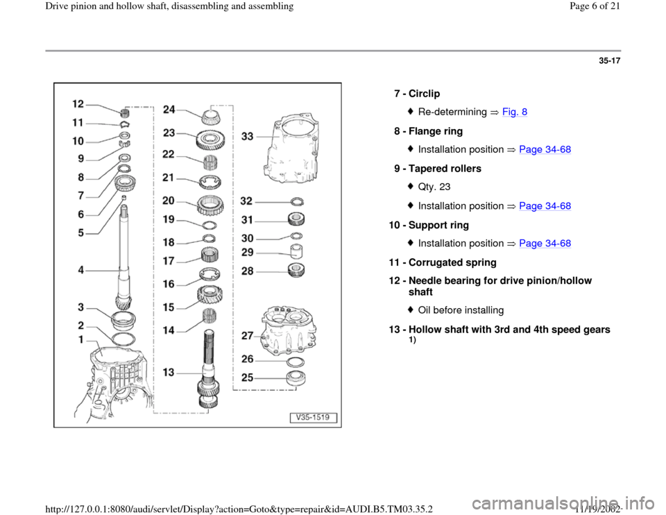 AUDI S4 2000 B5 / 1.G 01E Transmission Drive Pinion And Hollow Shaft Assembly Workshop Manual, Page 6