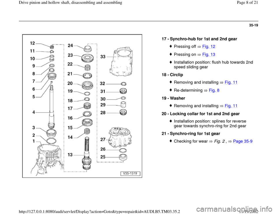 AUDI S4 2000 B5 / 1.G 01E Transmission Drive Pinion And Hollow Shaft Assembly Workshop Manual, Page 8