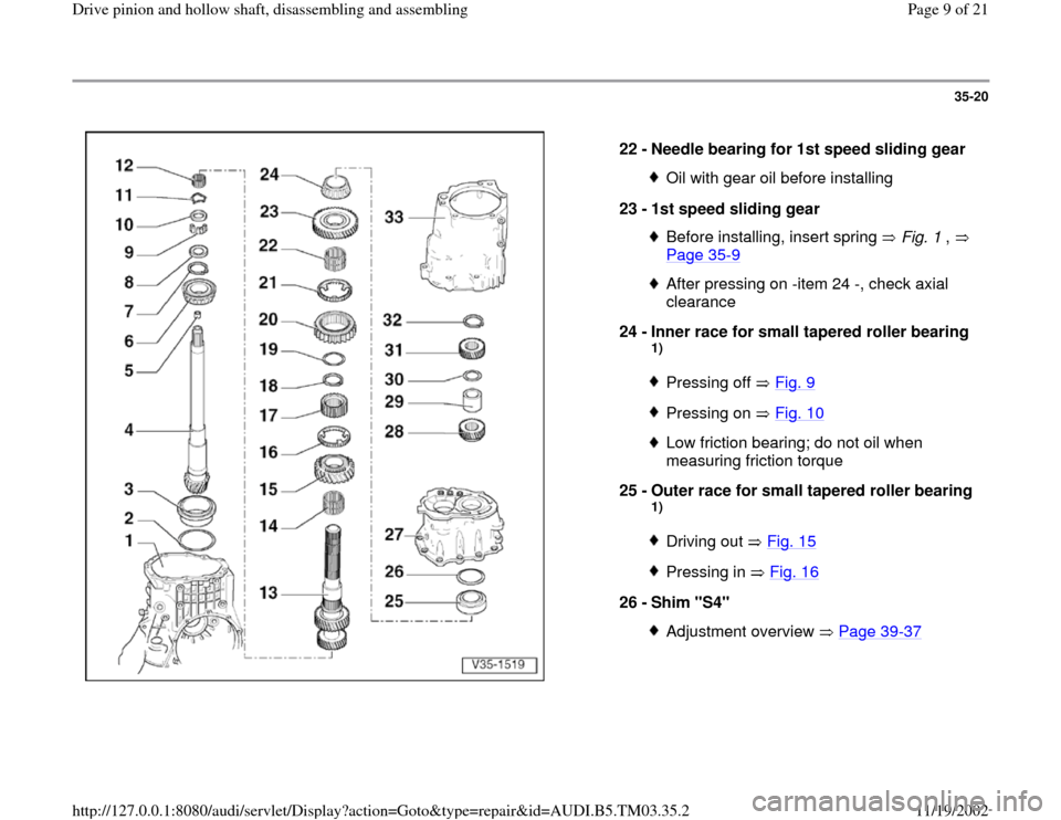 AUDI S4 2000 B5 / 1.G 01E Transmission Drive Pinion And Hollow Shaft Assembly Workshop Manual, Page 9