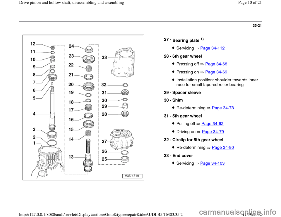 AUDI S4 2000 B5 / 1.G 01E Transmission Drive Pinion And Hollow Shaft Assembly Workshop Manual, Page 10