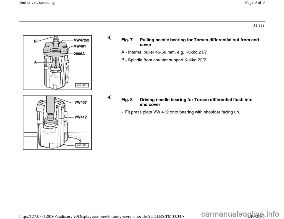 AUDI S4 1998 B5 / 1.G 01E Transmission End Cover Service Workshop Manual, Page 9