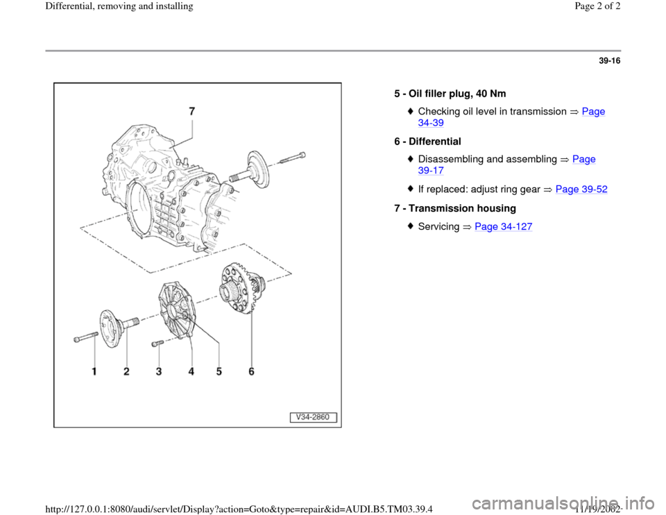 AUDI A6 2000 C5 / 2.G 01E Transmission Final Differential Remove And Install Workshop Manual, Page 2