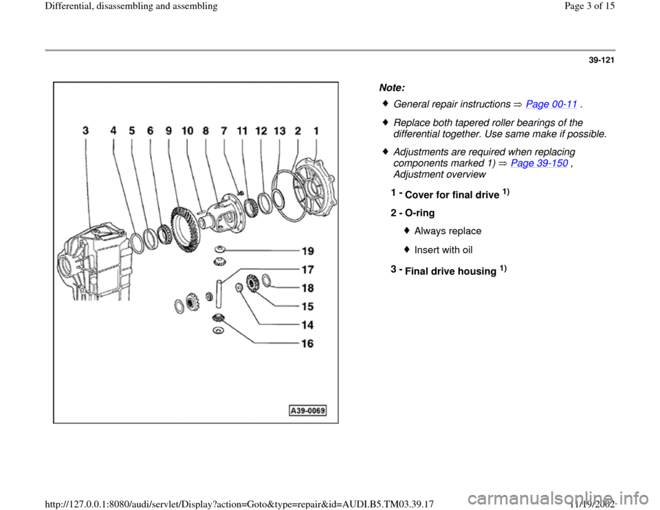 AUDI S4 1998 B5 / 1.G 01E Transmission Final Drive Differential Assembly Workshop Manual, Page 3