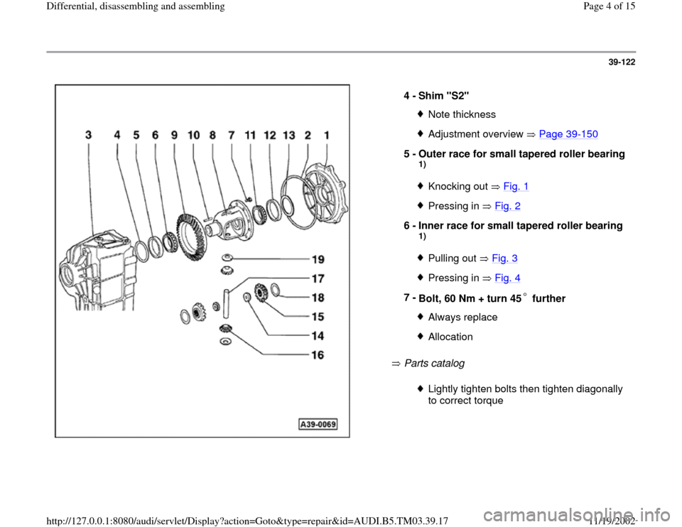 AUDI S4 1998 B5 / 1.G 01E Transmission Final Drive Differential Assembly Workshop Manual, Page 4