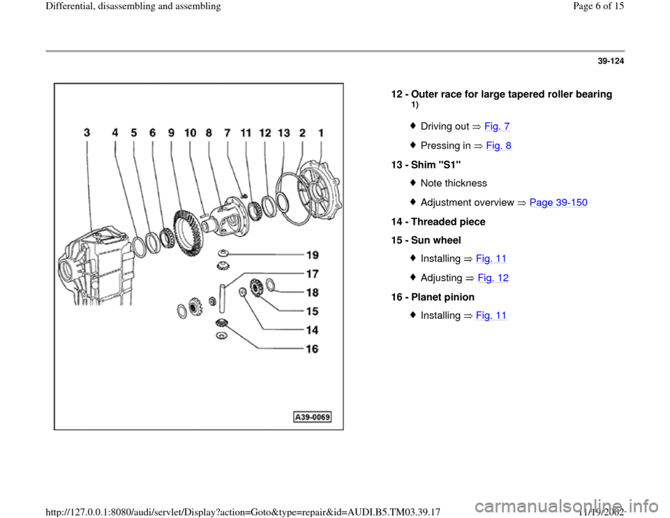 AUDI S4 1998 B5 / 1.G 01E Transmission Final Drive Differential Assembly Workshop Manual, Page 6