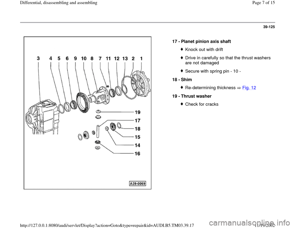 AUDI S4 1998 B5 / 1.G 01E Transmission Final Drive Differential Assembly Workshop Manual, Page 7