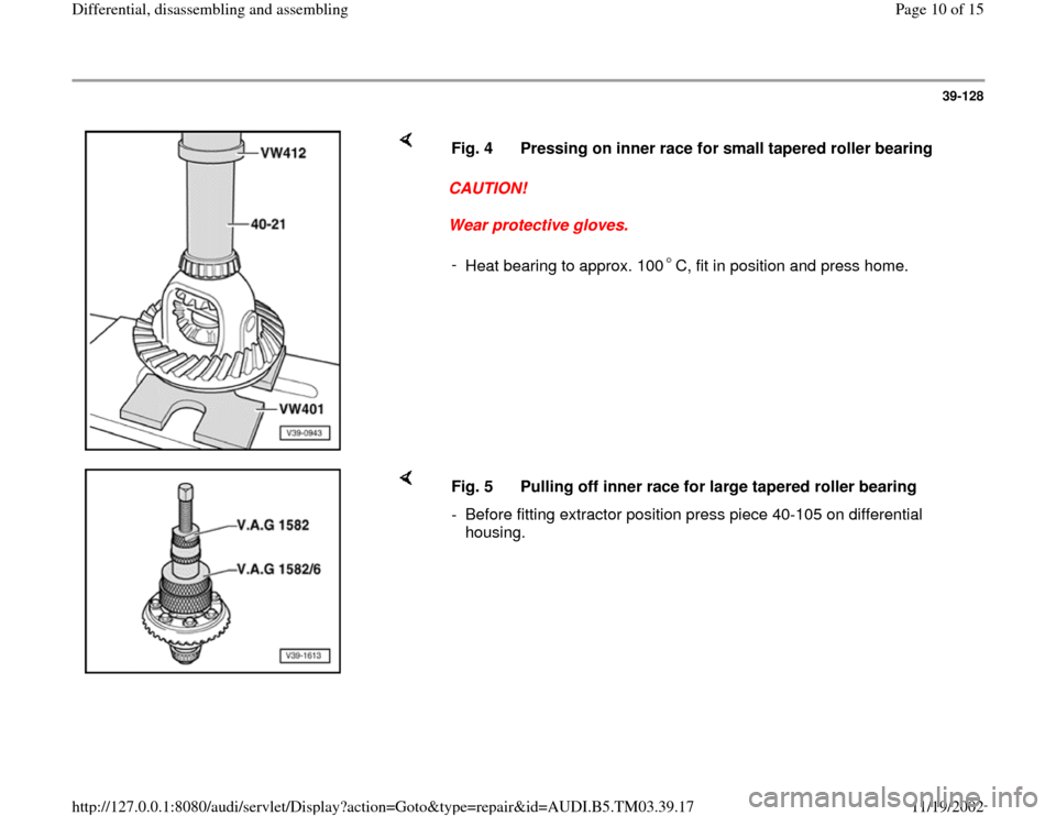 AUDI S4 1998 B5 / 1.G 01E Transmission Final Drive Differential Assembly Workshop Manual, Page 10