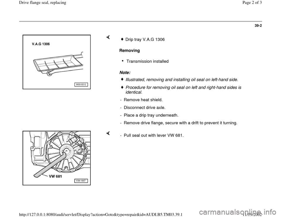 AUDI S4 1998 B5 / 1.G 01E Transmission Final Drive Flange Seals Workshop Manual, Page 2