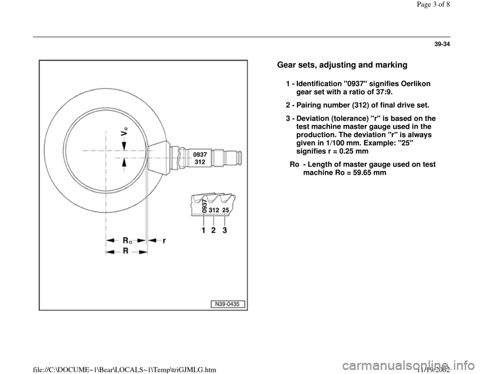 AUDI S4 1995 B5 / 1.G 01E Transmission Final Drive Pinion And Ring Gear Workshop Manual, Page 3