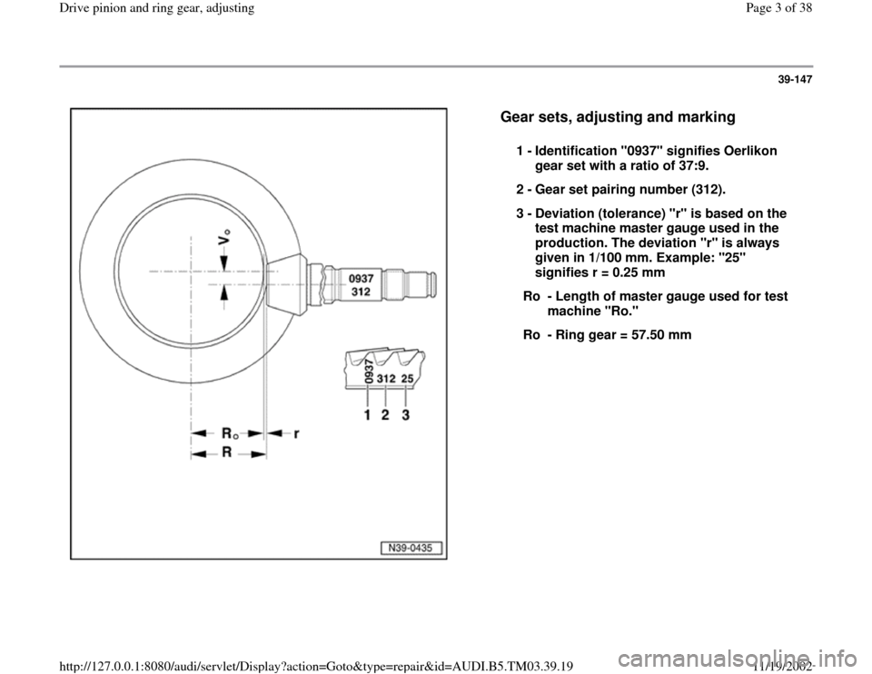 AUDI S4 1997 B5 / 1.G 01E Transmission Final Drive Pinion And Ring Gear Adjustment  Workshop Manual, Page 3