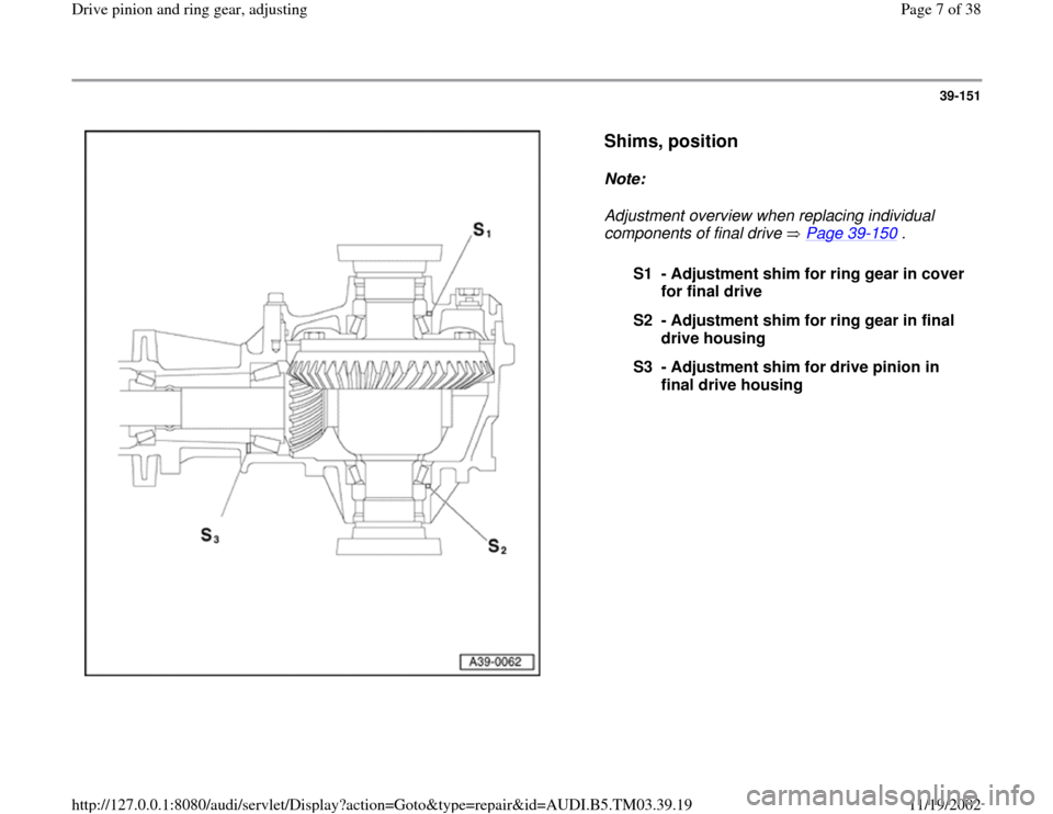 AUDI S4 1997 B5 / 1.G 01E Transmission Final Drive Pinion And Ring Gear Adjustment  Workshop Manual, Page 7