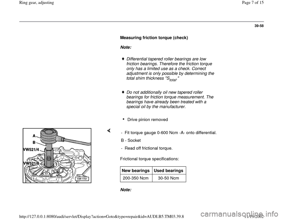 AUDI S4 2000 B5 / 1.G 01E Transmission Final Drive Ring Gear Adjustment Workshop Manual, Page 7